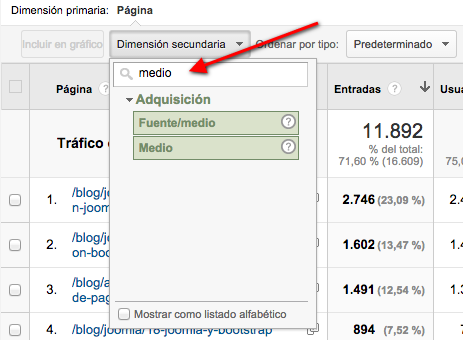 google analytics dimension secundaria